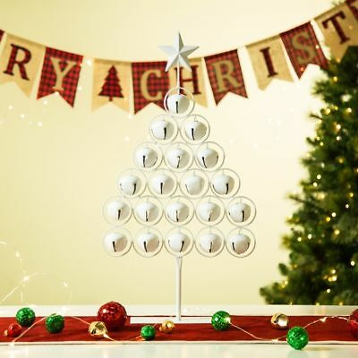 "Glitzhome 24.2""H Christmas Iron White Bell Table Tree"