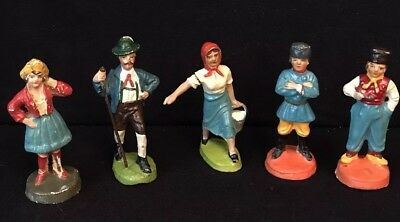 "5 Vintage 3"" Figures In Native Costumes – Russia (2), Holland, Germany, Italy"