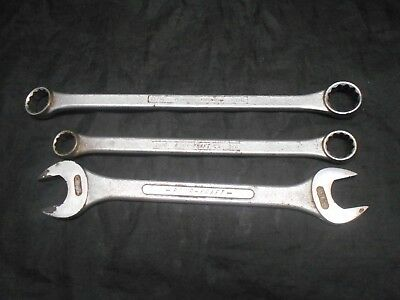Lot of 3 Power-Kraft SEA Open & Box End Wrenches Chrome Tools All Made In USA