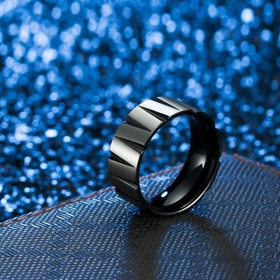 Fashion Titanium Steel Tapered Ring Men's Wedding Band Rings Jewelry Size 7-12