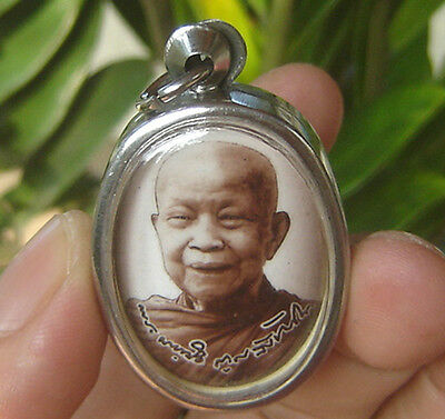 """Locket tablet Picture famous monk""""Lung Ta Mahabou""""Wat Phabanted Temple"""