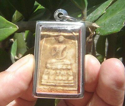 "Pendant tablet fired Clay Lord Buddha teach 5Monk&Temple""Phra Pathom Chedi"""