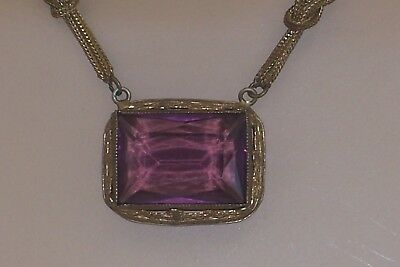 Vintage Art Deco Rustic Rectangular Purple Bezel Set Stone Crystal Bead Necklace