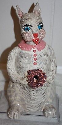 Vintage Ceramic Cat Decanter 2 Piece Gloss White, Gray, Pink