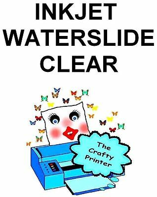 INKJET Water Slide Decal Paper -  5 Sheets - CLEAR