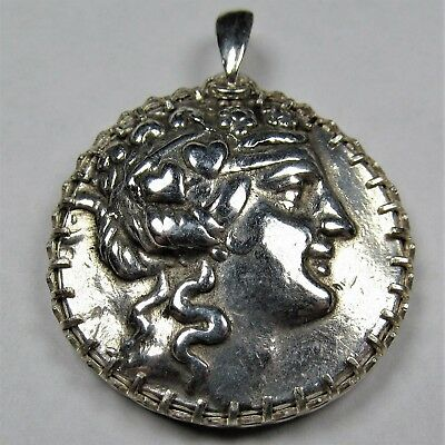 Authentic Ancient Greek Silver Coin Tetradrachm Sterling Silver Pendant #260