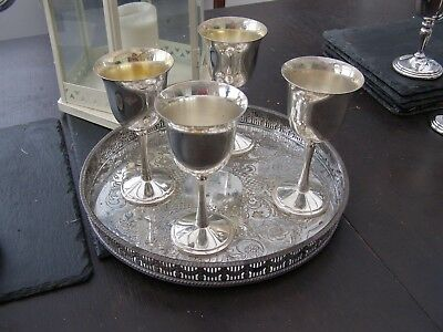 4 QUALITY VINTAGE SILVER PLATED GOBLETS EPNS & SERVING TRAY Christmas Drinks