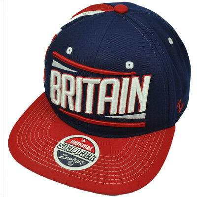 Zephyr Victory Britain Country Flag Navy Blue Red Flat Bill Snapback Hat Cap