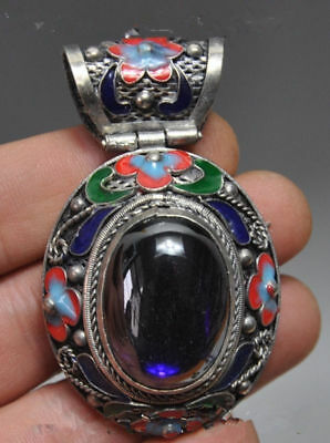 Chinese ancient Tibet silver pendant cloisonne inlaid gems