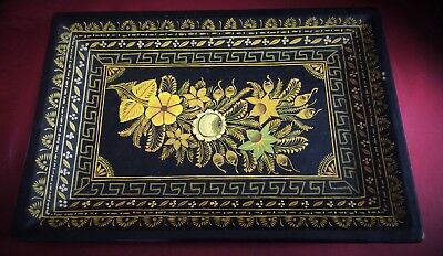 Beautiful Small Victorian Hand Painted Papier Mache Tray
