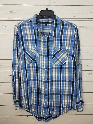 0d670aad18b D15 Women s Lane Bryant Blue Plaid Button-up Long Sleeve Shirt Size 22