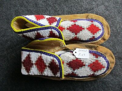 Beaded Moccasins, Native American  Beaded Leather Fancy Moccasins,   Day P-43