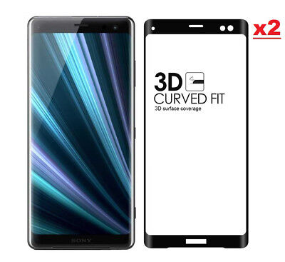 2 x Genuine 3D Curved Tempered Glass Screen Protector For Sony Xperia XZ3 Black
