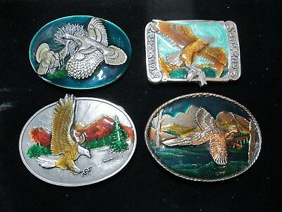 Lot of 4 Collectible BELT BUCKLES*Enamel/Lacquer*WILD TURKEY*PHEASANT?*EAGLES