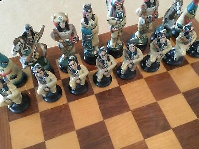 Rare Native American Indian Figure Hand Painted Chess Pieces-Read!