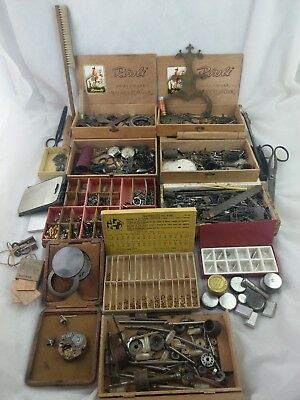 Huge Lot Of Watch Makers Clock Makers Tools Findings Parts