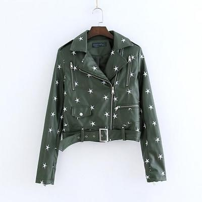 Womens Punk PU Leather Fashion Jacket Star Embroidery Casual Motorcycle Coat New