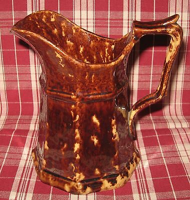 19th C. American Yellow Ware Mottled Rockingham Type Glazed Creamer Pitcher