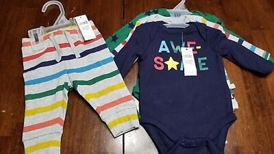 Baby Gap Boys 3-Piece Long Sleeve Rompers with 2-Piece Pants NWT