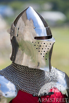 Medieval Visored Barbuta Armour Helmet Greek Roman Barbute European