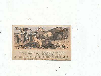C7464   Victorian Trade Card  H.i Peck Taunton  Shoes  Pigs