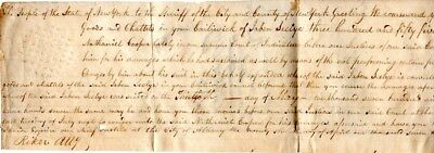 1799, Richard Riker, New York District Attorney, shot in a duel, signed document
