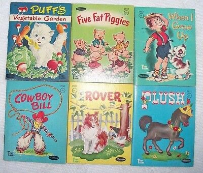 Lot Of 6 Vintage Whitman Tiny Tales Books Cowboy Bill Rover Plush Puff's Garden
