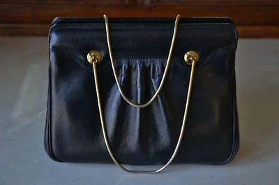 STUNNING! Vtg 60s RONAY Black Leather & Gold Chain Handle Kelly Purse!