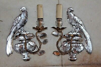 PAIR FRENCH ART DECO 1920's MAISON BAGUES CRYSTAL OPPOSING FACE PARROT SCONCES