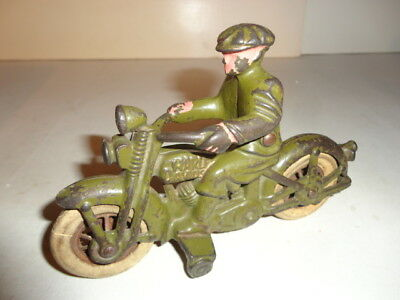 """1930's Cast Iron Harley Davidson Motorcycle 6"""" By Hubley, Usa"""