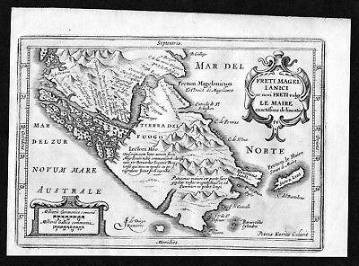 1634 Strait of Magellan Tierra del Fuego map Mercator engraving antique print