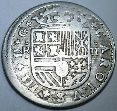 1707-1714 Spanish Silver 2 Reales Piece of 8 Real Colonial Pirate Treasure Coin