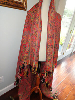 19th Century Antique Kashmir Paisley Shawl Victorian Exc Condition Appear Unused