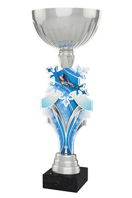 SKIING METAL ACRYLIC TROPHY CUP SILVER *FREE ENGRAVING* 330mm NEW