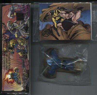 1995 X-Men Hardee's Unopened 5-Card Pack + 6-Pog Pack + Beast Figurine