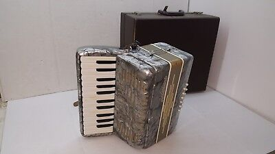 Accordiana Accordion Italy 25 Key 12 Bass Vintage Silver Straps Case Excelsior