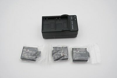 Genuine Lot of (3) SJCAM SJ4000 Batteries and Charger 3.7V Li-ion 900mAh