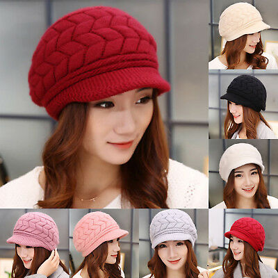 d9e498d9b12 Fashion Elegant Womens Hats Autumn Winter Beanies Knitted Warm Hats Fur Caps