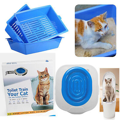 Groove Cat Toilet Training Kit Litter Tray Box Trainer Pet Cleaning Bedpan Case
