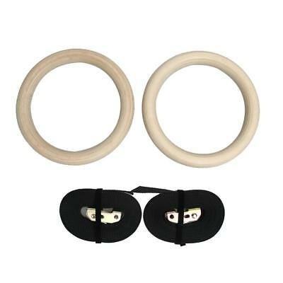 Wood Gymnastic Gym Rings with Adjustable Buckles Straps Cross Fitness SN9F