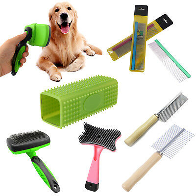 Pets Dog Cat Grooming Self Cleaning Slicker Brush Comb Shedding Tool Hair Fur