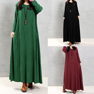 Vintage Women Long Sleeve Buttons Long Maxi Dress Full Length Shirt Dress F2L9