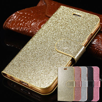 For iPhone 5/5s 6/6s 7 8 Plus X Glitter Wallet Magnetic Flip Phone Case Cover