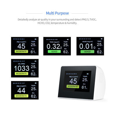 CO2 Monitor Detector Temperature Humidity Meter Air Quality PM2.5 HCHO Test P3G0