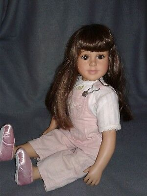 """1997 Retired Twin My Twinn Doll 23"""" Brown Hair & Eyes Pink overalls Poseable"""