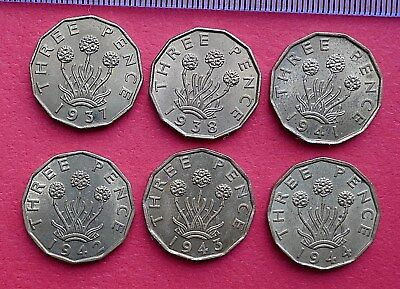 George VI Brass Threepence - 1937 to 1952 Extra Fine - choose your date
