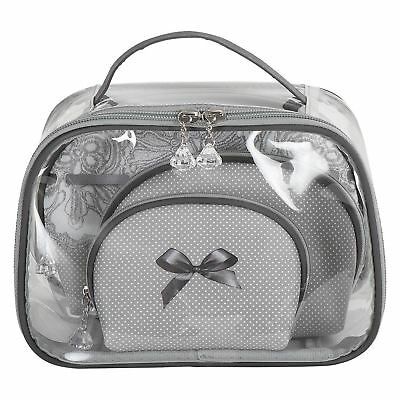 Mathilde M Travel Cosmetic Toiletry Bag & 3 Pouch Dentelle Make Up Bags Gift Set