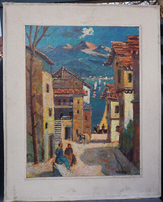 Art Deco Austrian/Swiss H.Brocke sign. Oil Board Painting Mountains&Lake Village