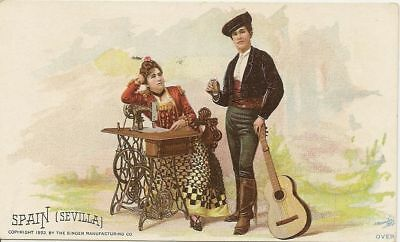 Chicago IL Spain Sevilla Singer Sewing 1892 Columbian Expo Trade Card #m964