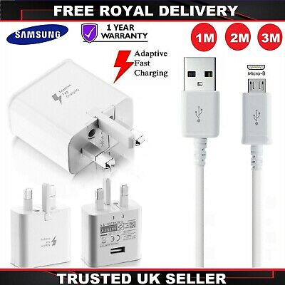 Genuine Fast Charger Plug & 1M 1.5M 2M 3M USB Cable For Samsung Galaxy Phone LOT